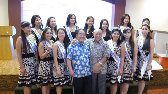 Sensei Fumio Demura and Mr. Tak Kubota with 2015 Miss Nisei Week