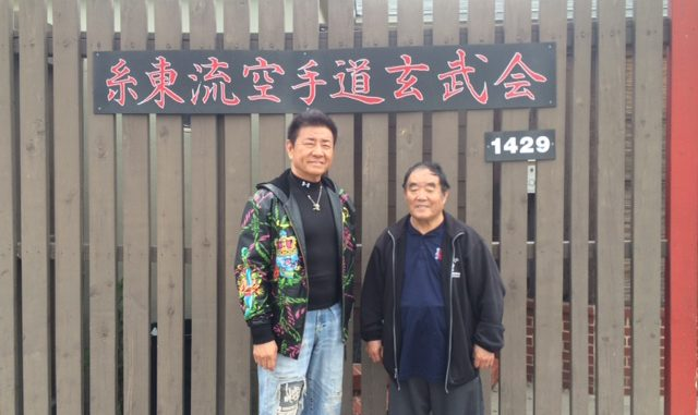 Mr. Sho Kosugi and Sensei Fumio Demura in front of the Santa Ana dojo (Shito-Ryu Karate-Do Genbu-Kai International)