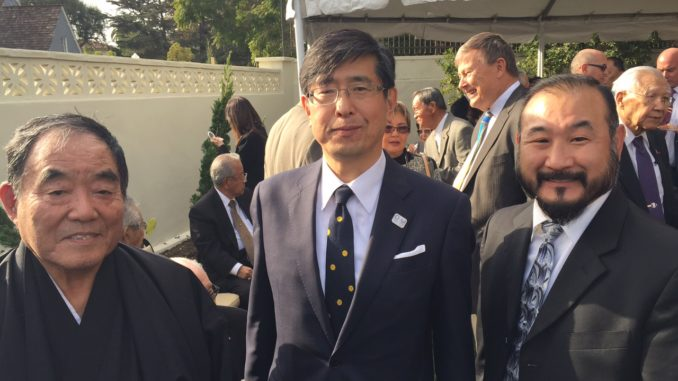 Demura Sensei and Mr. Kevin Suzuki with an unnamed Japanese gentleman at the Japanese Emperor's birthday party event