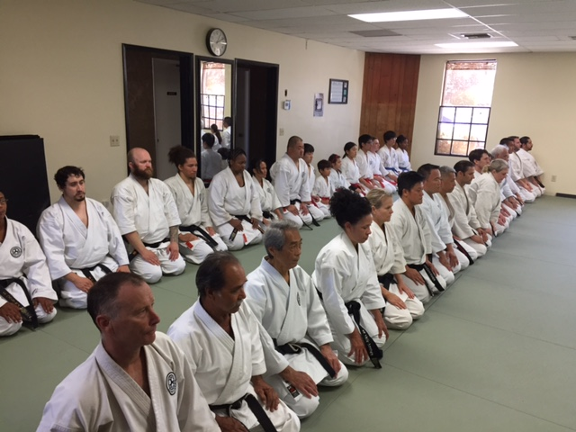 Genbu-Kai students - mokuso - at the hombu dojo