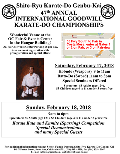 Shito-Ryu Karate-Do Genbu-Kai 47th Annual International Goodwill Karate Championships